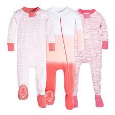 Set of 3 Organic Baby Girl Zip Up Footed Pajamas | Burt\u0027s Bees Baby®