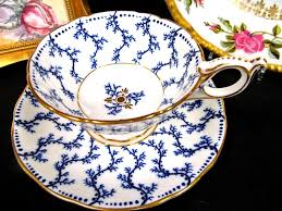 Decorative Cups And Saucers Coalport tea cup and saucer chintz pattern blue gold teacup wide 51