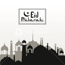 Monochrome Background Silhouette Eid Mubarak With Mosques Arab City