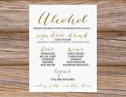 dinner invitation sample wedding bar menu template