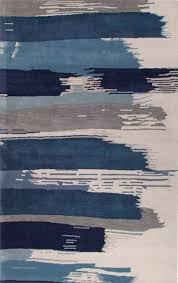 modern fl blue ivory wool area rug brush stroke modern fl