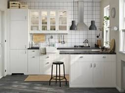 kitchen. A White Kitchen With Combination Of Closed And Glass Doors.