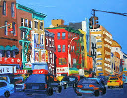 chinatown colorful painting nyc art wall decor new york city blue red yellow painting by gwen meyerson