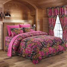 the woods hot pink camouflage queen 8pc premium luxury comforter sheet pillowcases and bed skirt set by regal comfort camo bedding set for hunters cabin