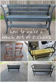 my repurposed life how to make a bench out of 2 chairs a salvaged project