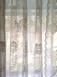 classic fl lace curtains with stylish attached valance 58 x 81 vintage