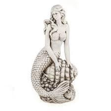 sienna mermaid on shell garden statue