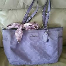 Lavender Coach purse with scarf. HoLD