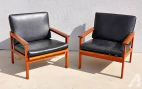 vintage 60s furniture. Pair Mid-Century Danish Modern Leather Teak Lounge Vintage 60s Furniture S