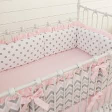 pink and gray chevron baby crib bedding