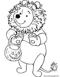 Winnie The Pooh As A Lion Disney Halloween Coloring Pages Printable