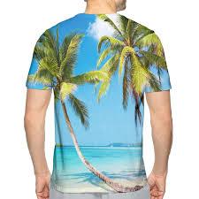 Nicokee 3d Print T Shirt Palm Trees On Tropical Island