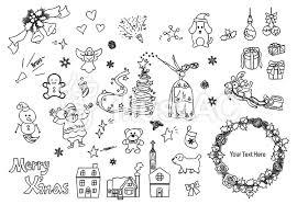 クリスマス素材手書き1白黒イラスト No 941247無料イラストなら