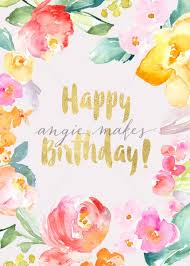 Happy Birthday Card Download With Tropical Flowers Angie Makes