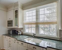 double kitchen window gets a sheer roman shade contemporarykitchen sheer roman shades g62