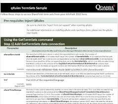 Sample Infopath Forms Qdabra Products Qrules Managed Metadata And Term Set For Infopath