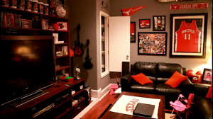 Fascinating image of man cave bedroom decoration using dark brown black  leather living room sofa including grey and red living room color scheme  and ...