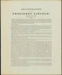 The inaugural address had contained not a single memorable phrase or idea. Unrecorded Broadside Of Lincoln S Second Inaugural Address Sold