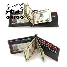 mens leather wallet money clip credit card id holder front pocket thin slim for