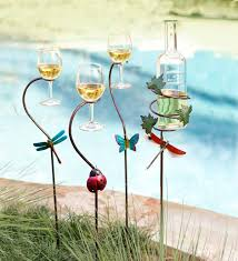 metal wine bottle and glass holder stakes set