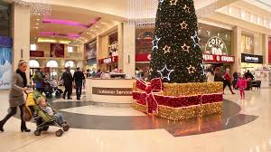 beautiful christmas decorations. Beautiful Christmas Tree In Shopping Mall Centre Center Last Minute Buying Presents Light Lights Decorations Glitter Celebration New Years Festive Stock