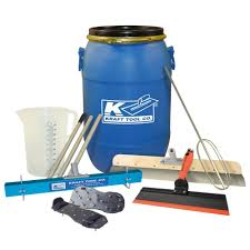 7 piece self leveling tool kit with 15 gal mixing barrel