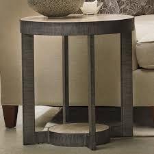 mill valley travertine marble metal round end table in grey