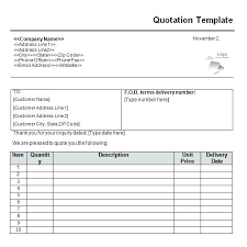 Cotation Sample Quotation Template Excel Invoice Quotes Ms Excel Sales Quote