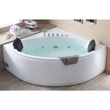 acrylic offset drain corner a front whirlpool bathtub in white