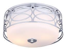 canarm ifm173b12ch drake 2 light flush mount with flat opal glass chrome