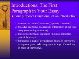 introduction reason body reason reason conclusion ppt  introductions the first paragraph in your essay  four purposes functions of an