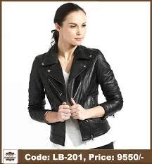 latest smart lady black color genuine leather jacket