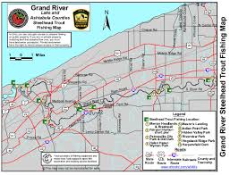 Manistee River Flow Chart Grand River Ohio Steelhead Fishing Map Diy Fly Fishing