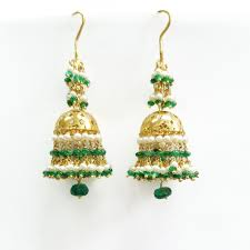 emerald and pearl chandelier gold earrings