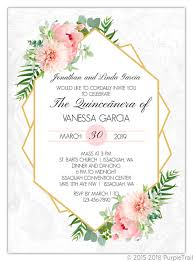 Invitation Quincenera Floral Embellished Frame Quinceanera Invitation