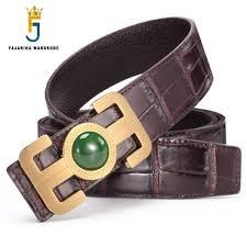 senarai harga fajarina mens top quality cowhide ring real jade decorative smooth buckle belts genuine leather accessories for men lufj703 terkini di