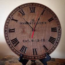 chaney wall clock elegant personalized clock engraved wood clock carved engraved wedding