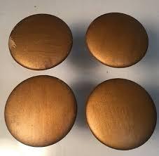 vintage set of 3 large wood drawer pull knobs gold brass color