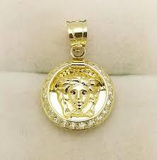 details about 10k yellow gold medusa pendant versace symbol charm