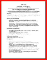 fast food restaurant manager resume fast food resume examples apa example