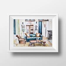 Interior Design Tv Shows Interesting Wall Art Watercolor Will And Grace Apartment PrintTv Show Etsy
