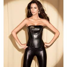whole leather corset with beaded plc558