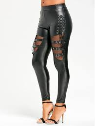 s lace up fishnet insert pu leather pants