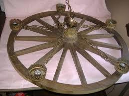 vintage underwriters laboratories wood brass trim wagon wheel 5 light chandelier 313856340