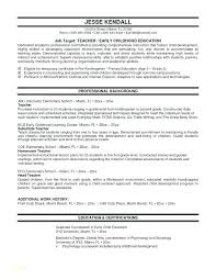 School Teacher Resume Sample Awesome Early Childhood Education Resume Samples Resume Sample Education