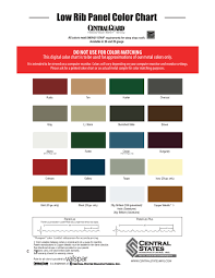Central States Metal Color Chart Cold Formed Color Charts Bluestar Steel Buildings