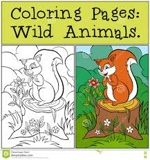 Coloring Pages Wild Animals Little Cute Squirrel Stock Vector