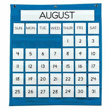 Pacon Calendar Weather Pocket Chart Pacon Monthly Pocket Chart Blue 25 X 28