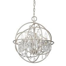 kichler vivian 19 02 in 6 light brushed nickel clear glass globe chandelier