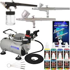 Cake Decorating Airbrush Kit New 3 Airbrush Kit 6 Primary Colors Air Compressor Dual Action